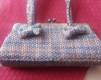 vintage tweed purse/handbag/clutch with bows and rhinestones on the opening. blue, green, gold, on burgundy.