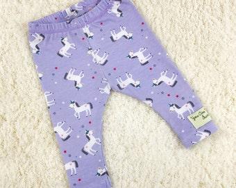 Purple Unicorn Print Baby Leggings, Toddler Leggings, Kids Leggings