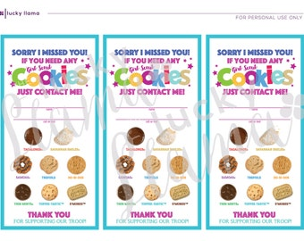Girl Scout Cookie Door Signs (Sorry We Missed You)- Printable