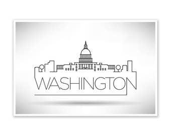 Washington DC Skyline Line Art Poster
