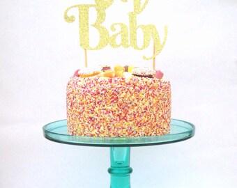 Cake Topper, Oh baby glitter cake topper, glitter cake decoration, cake topper, party decor, baby shower decor, baby shower cake topper