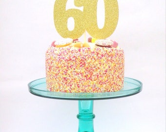 Cake Topper, 60 cake topper, glitter cake topper, 60 cake decoration, sixty cake topper, 60 party decor