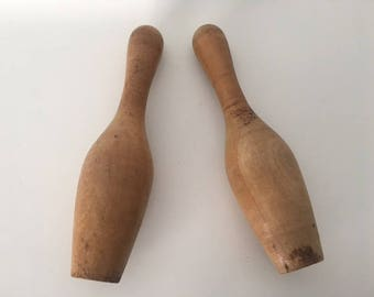 Vintage Wooden Toy Bowling Pins, Retro Toy, Rustic Decor, Vintage Nursery Decor, 1960's