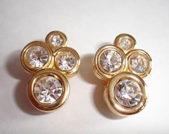 Vintage Swarovski Crystal Clear Rhinestone Clip On Gold Tone Earrings, Large Chunky Art Deco Earrings