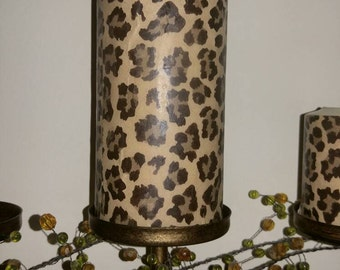 "Large 6""x3"" Leopard Cheetah Print Candle"