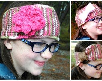 3 in 1 Custom Headband - Crochet Headband - Knit Headband - Knit Earwarmer - Multicolor