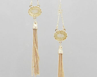 Druzy Chain Tassel Earrings