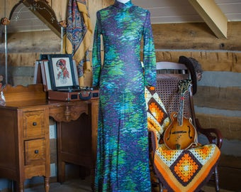 Vintage 1970s multi-coloured metallic maxi dress