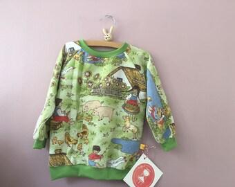 Bauernhof Pullover vintage Kinderkleidung 98 104 70er seventies Raglanärmel Raglanpullover 3y - 4y
