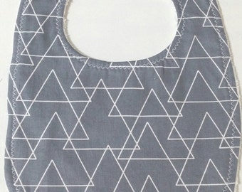 100% Cotton Baby Bib - Grey with White Triangles