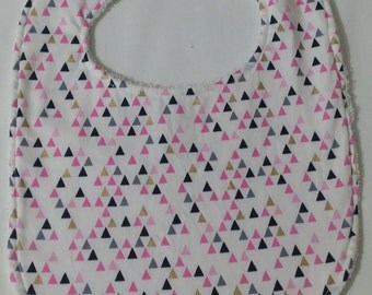 100% Cotton Baby Bib - White with Coloured Triangles
