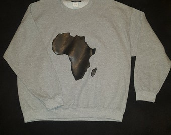 Faux Leather Gray Africa Sweatshirt