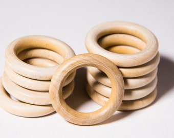 10pcs Natural Organic Unfinished Wooden Rings 39mm - Craft Supply