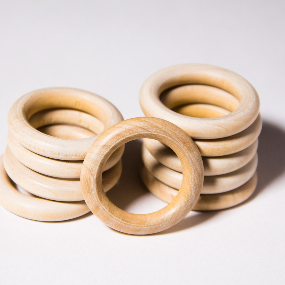 10pcs natural organic unfinished wooden rings 39mm craft for Wooden rings for crafts
