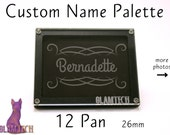 12 Eyeshadow Pan Custom Name Magnetic Makeup Palette - Makeup Storage - Design Your Travel Eye Shadow Palettes - by GlamTech