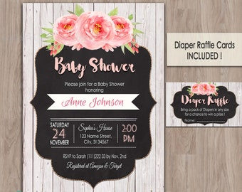 Rustic baby shower invitation, rustic baby shower invites, baby shower invitation rustic, baby girl shower invitation, printable, wood