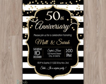 50th Anniversary Invitations, 60th anniversary, Black & Gold Fiftieth Anniversary,  Black White Stripes 50 Anniversary Party Invites, 25th