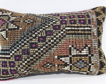Embroidered Kilim Pillow Throw Pillow Sofa Pillow 16x24 Handwoven Kilim Pillow Ethnic Pillow Home Decor Cushion Cover SP4060-365