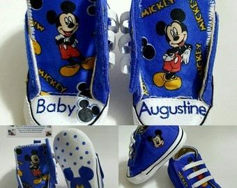 Infant Disney Mickey Converse crib shoes, newborn baby, soft bottom shoes by hallwayzdesigns
