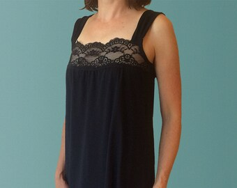 Daydream Organic Cotton Nightgown with Lace Trim in Black.  Elegant Sleepwear made in Australia.