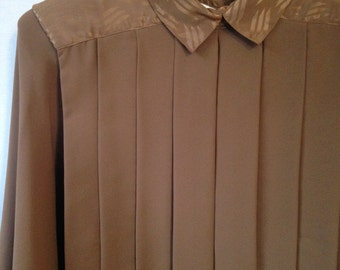1980s brown pleated blouse by NICOLA size 8