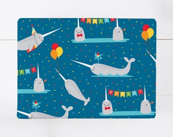 Narwhal Birthday Wrapping Paper