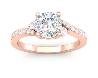 Rose Gold Engagement Ring Three Stone Twist Design Side Stone Accent 14K .22ct Diamonds Semi Mount for 1 ct Center New Setting or Moissanite