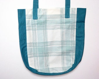 Blue bag, recycled bag, shopping bag, one of a kind, tote bag, upcycled bag, upcycled fabric, sustainable.