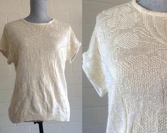 Vintage cream short sleeve sweater / M medium / drapey dolman sleeve top