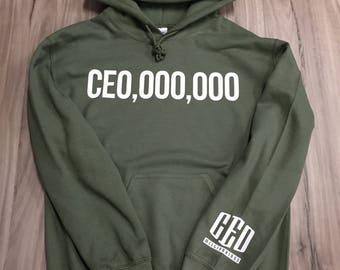 Ceo Hoodie military Green hoodie-CEO,OOO,OOO,2 chains ,ceo millionaires (White-Print)