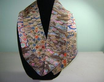 Skinny Long Patchwork Silk Kimono Infinity Scarf