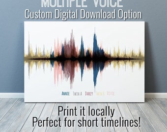 Multi Voice Custom Sound Wave Art Digital Download, Custom Made Art, Soundwave Custom Art, Personalized, Multiple Voice Sound Art
