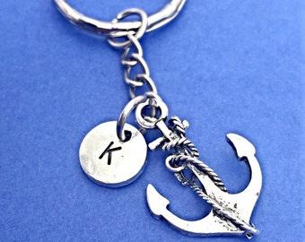 Custom anchor keychain, anchor charm, nautical keychain, nautical charm, personalized, initial keychain,custom keychain, sailor, beach gift