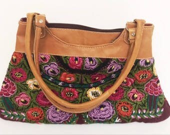 Vintage Leather handbag Flower Quilt Embroidered Purse Hand Made By Mayan Fair Trade