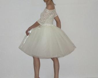 Tulle skirt petticoat cream skirt length 55 cm