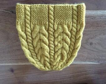 Knitted aran hat, 100% wool, size 54-56