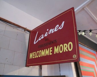 Vintage French Enamel Advertising Sign - 'Laines Welcomme Moro' Knitting Wool