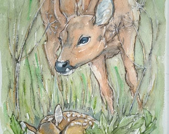 Deer painting roe deer and fawn art original watercolour wildlife painting one off portrait of a roe deer doe with her calf