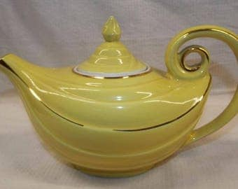 Hall #0679 Hand Painted Alladin's Lamp Teapot with Original Lamp Light Lid and Gold Trim - Made in U.S.A.; New Vintage
