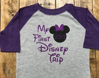 My First Disney Trip Baseball Style Toddler Shirt, Disney Family Vacation shirts