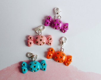 Stitch markers, candy stitch markers, polymer clay stitch markers, knitting stitch markers, crochet stitch markers, knitting tools