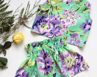 Floral Ruffle Skirt - girls skirt, cotton skirt, birthday skirt, party skirt, toddler skirt, green skirt, purple skirt