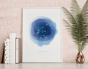 Aquarius Print, Printable, Instant Download, Digital File, Astrology Art, Zodiac Art, Wall Decor, Constellation, Stars, Watercolor, DIY Art