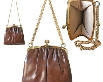 Vintage Brown Leather Kiss Lock Clasp Bag