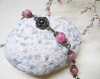 Rhodochrosite Bracelet Heart Chakra Bracelet Vintage Bracelet Gemstone Bracelet Romantic Bracelet Ethnic Bracelet Love Bracelet Gift for Her