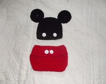 Crochet Mickey Mouse Diaper Cover Set