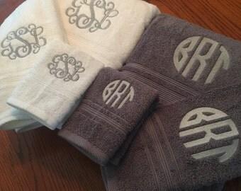 Monogrammed Towel Set, Monogrammed/embroidered Bath Towels-  Charisma Towels