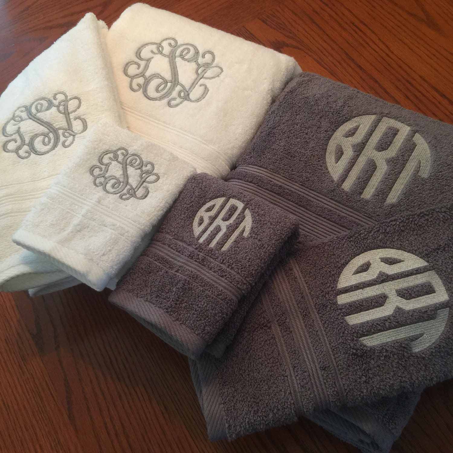 Monogram Towels For Bathroom: Monogrammed Towel Set Monogrammed/embroidered Bath By