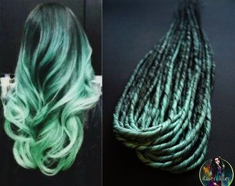 Synthetic double ended handmade dreads DE dreadlocks dreads mint hair extensions