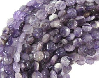 """10mm amethyst coin beads 15.5"""" strand 30758"""